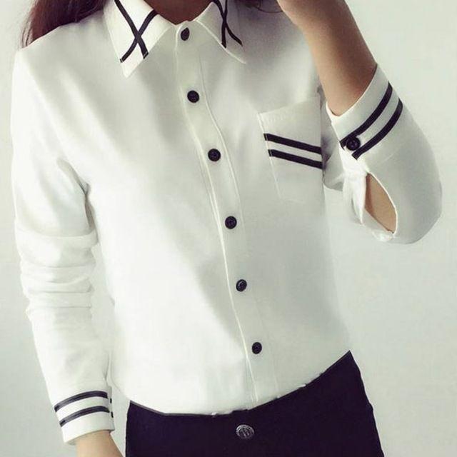 Blusas de Las Señoras OL de Las Mujeres Elegantes 2016 de Otoño Estilo Coreano de Manga Larga Con Lentejuelas Gasa de Las Señoras de Oficina Camisa Blanca Azul Tops Formales