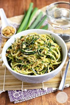 Sesame Almond Butter Zucchini Noodle Bowls