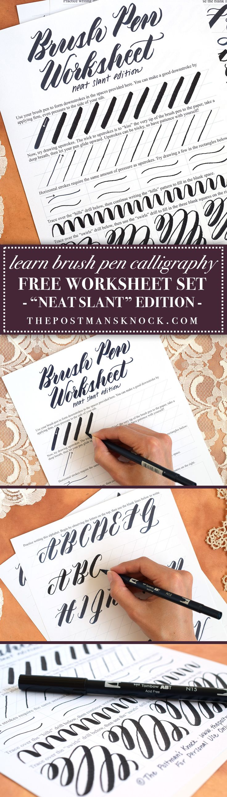 If you're looking for some fresh brush pen calligraphy practice, you'll enjoy the free printable worksheet included in this post! The worksheet features a page of basic practice, drills, and a neat alphabet exemplar.
