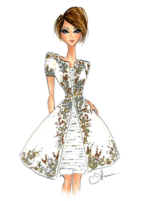 Fashion Illustration Print Chanel Couture by anumt on Etsy