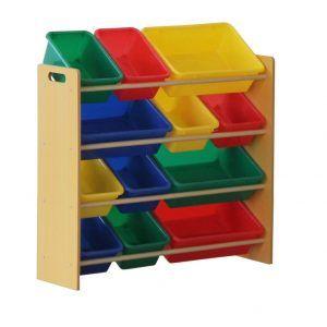 Storage Shelf With Bins Primary Colors