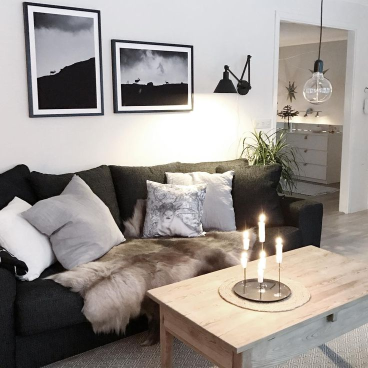Scandinavian living room with fur, wood and framed black and white posters from printler.com, the marketplace for photo art. Interior design by lapptussan at instagram.