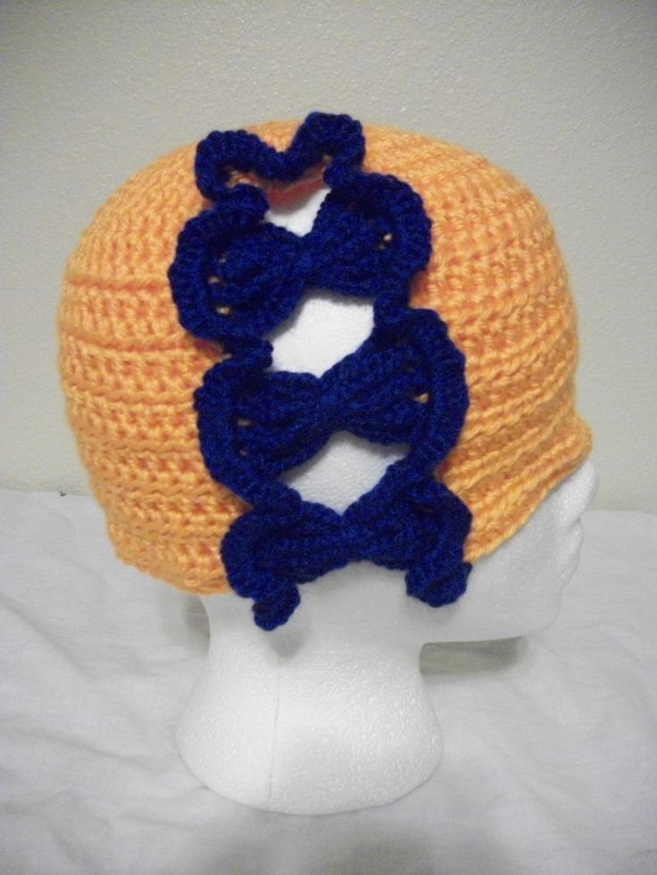 Crochet Jamie Stitch : Crochet Denver Broncos like Colors Butterfly Stitch Hat