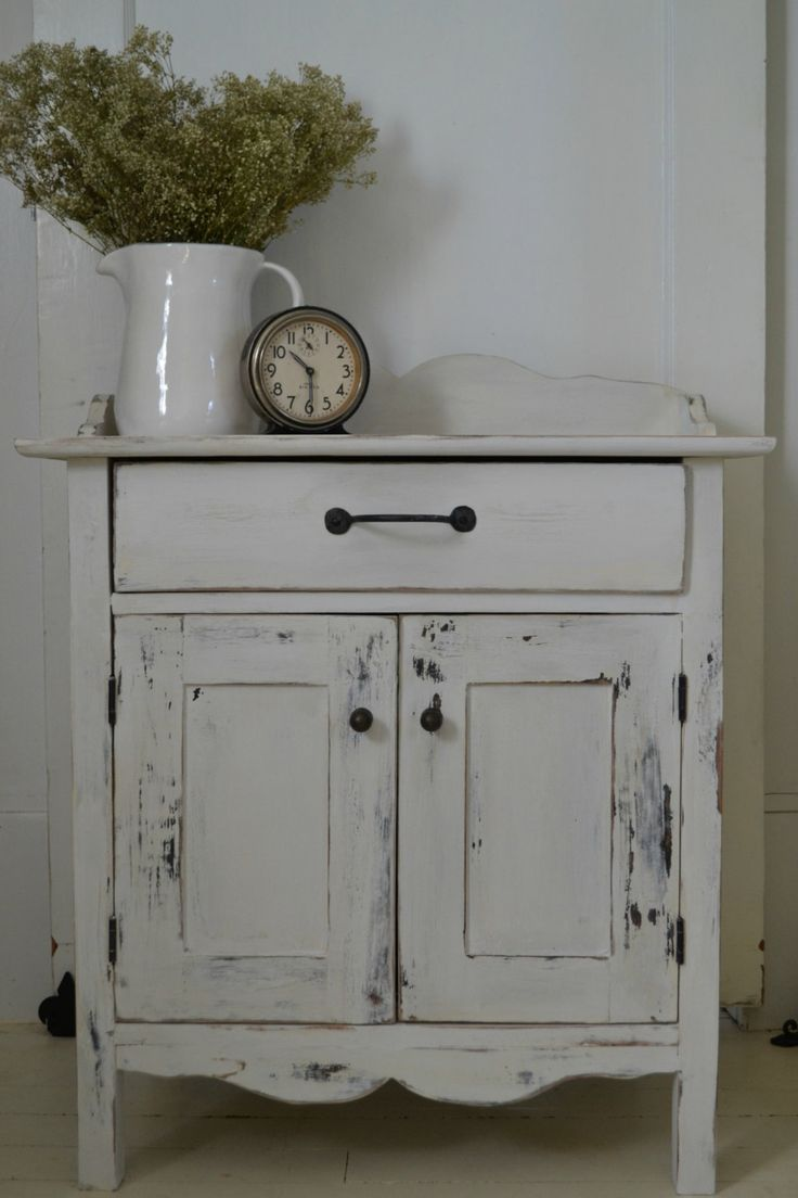 "White Distressed  26"" High Cupboard with Drawer/Vintage Style End Table/Night Table by SharonMfortheHome on Etsy"