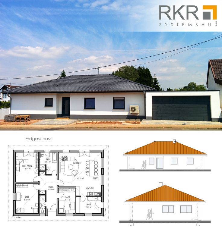 bungalow mit integrierter doppelgarage. Black Bedroom Furniture Sets. Home Design Ideas
