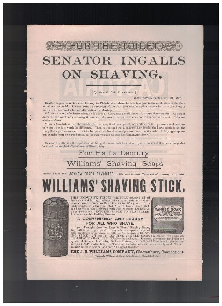 Senator Ingalls Endorsement in 1887 Williams' Shaving Stick Ad #WilliamsShavingSoap