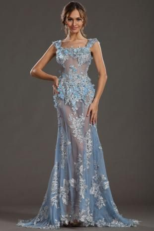 Sexy Flowers Adorned Lace Beaded Sky Blue Carpet Evening Dress