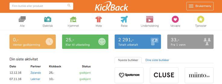 Spar litt ekstra,få tilbake penger når du handler på nett! Kickback.no