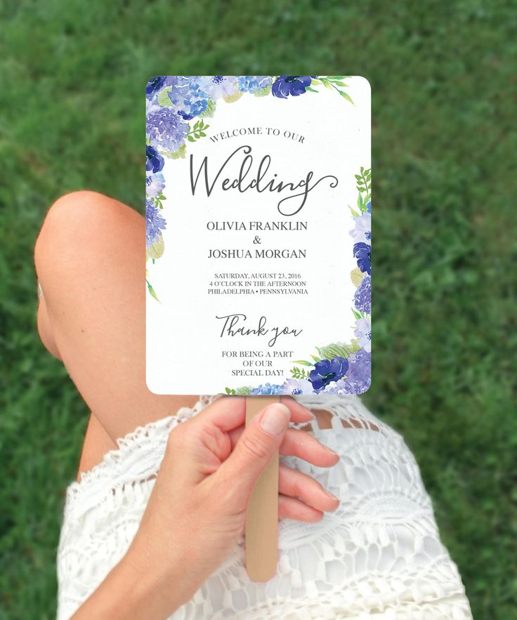 Wedding Ideas - Wedding Programs - Programs - Fan Program - Hydrangea Wedding Program Template - Printable DIY Editable Wedding Program - DIY Program - Instant Download by CreativeUnionDesign on Etsy