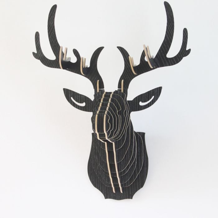MDF Black Wooden Puzzle Deer Head with Antlers Wall Mount