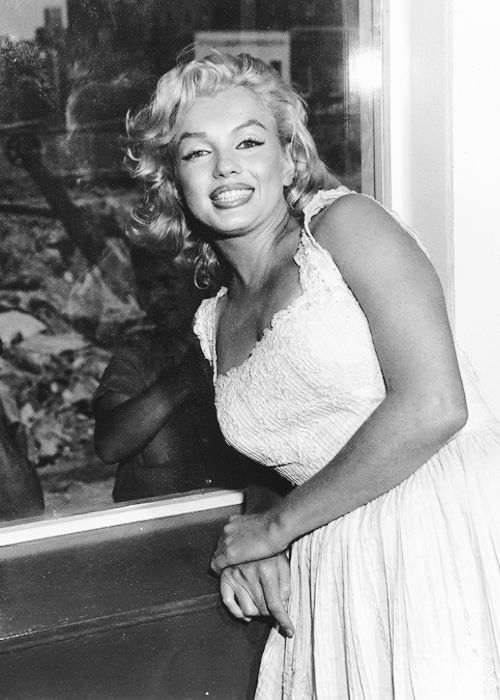 """missmonroes: """" Marilyn Monroe at the Rockefeller Center for the opening of the Time-Life Building, NYC 1957 """""""