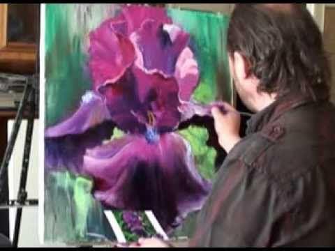 Учимся рисовать цветы Ирис масло холст МК Сахарова - YouTube