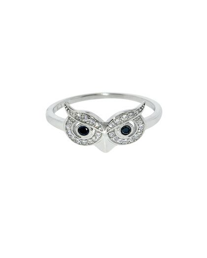 Sterling Silver Pave Owl Ring - JewelMint