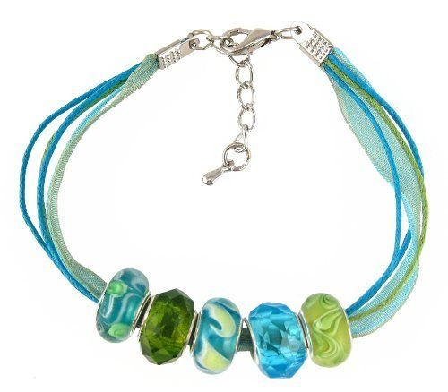 "Bracelet - 5 Strand Organza & Cotton Cord with 5 ""Pandora"" Style Beads - 7"" + 1"" Extension Chain ~ Aqua & Lime Green I (FB264) Serenity Crystals, Inc.. $12.95. You cannot add any more beads to this bracelet... 5 ""Pandora"" style beads strung onto 5 strand organza and cotton cord... Bracelet measures 7"" + 1"" extension chain. Silver-plated base metal bead cores and findings... Trendy and affordable...  Makes the perfect gift... Save 57%!"
