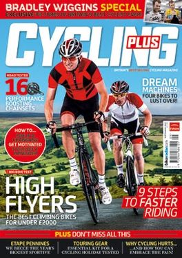 Another Cycling Plus cover. Again very busy. Red is a strong colour there, fitting in with the red of the Cycling Plus
