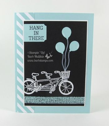 pedal pusher balloons in a basket, tons more ideas for this stampin up sale-a-bration set on my blog www.barbstamps.com, pool party glitter ribbon