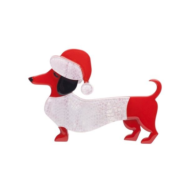 "Limited Edition Christmas Spiffy (the Sausage Dog) brooch in red. ""Ho ho ho... it's Christmas Spiffy time you know!"""