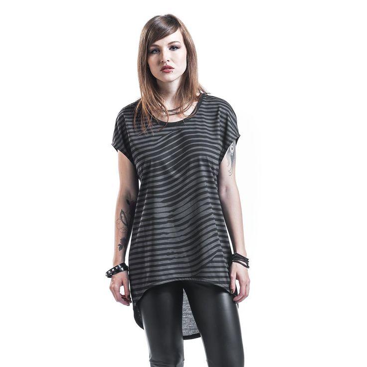"""Maglietta donna a maniche corte """"Stripe"""" del brand #Rockupy a righe orizzontali con retro leggermente più lungo della parte frontale."""