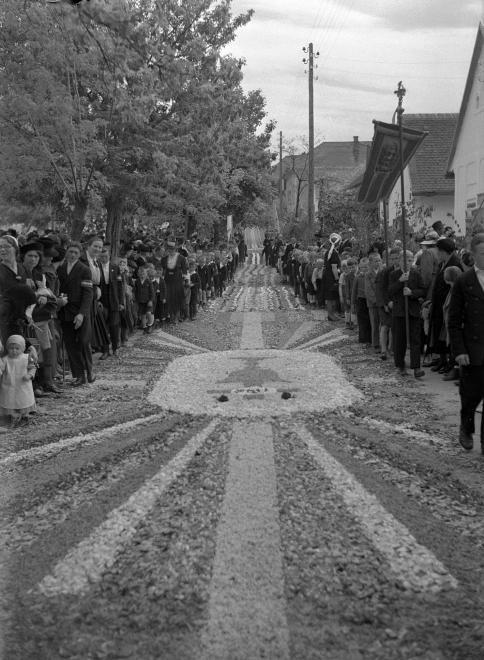 Budaörs,Szabadság út a Templom tér felé nézve. Úrnapi körmenet virágszőnyege, 1940.