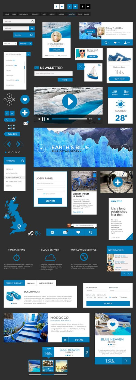 Plusieurs exemples de flat design en bleu, excluant les images, les dessins sont tous des formes simples qui soit évoquent clairement leur fonction ou ont un court paragraphe qui décrivent ce qu'ils désignent.