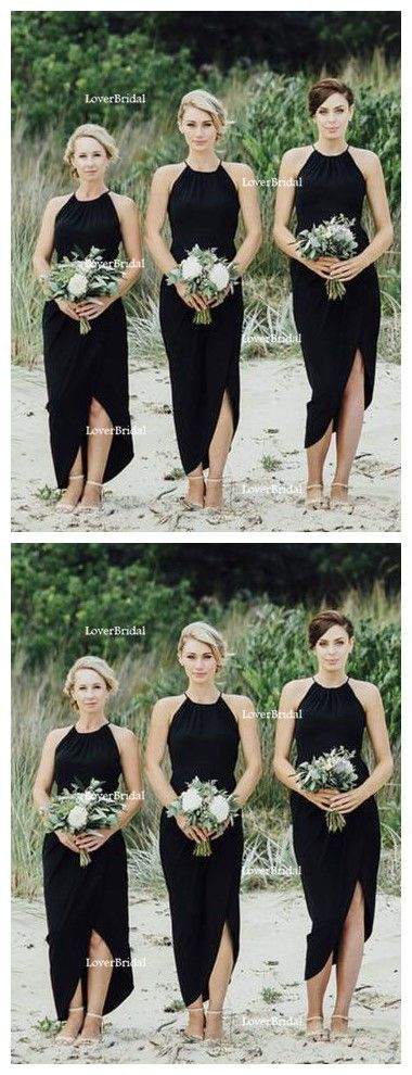 Simple Black Side Slit Short Bridesmaid Dresses, Cheap Unique Sequin Long Bridesmaid Gown, BD125