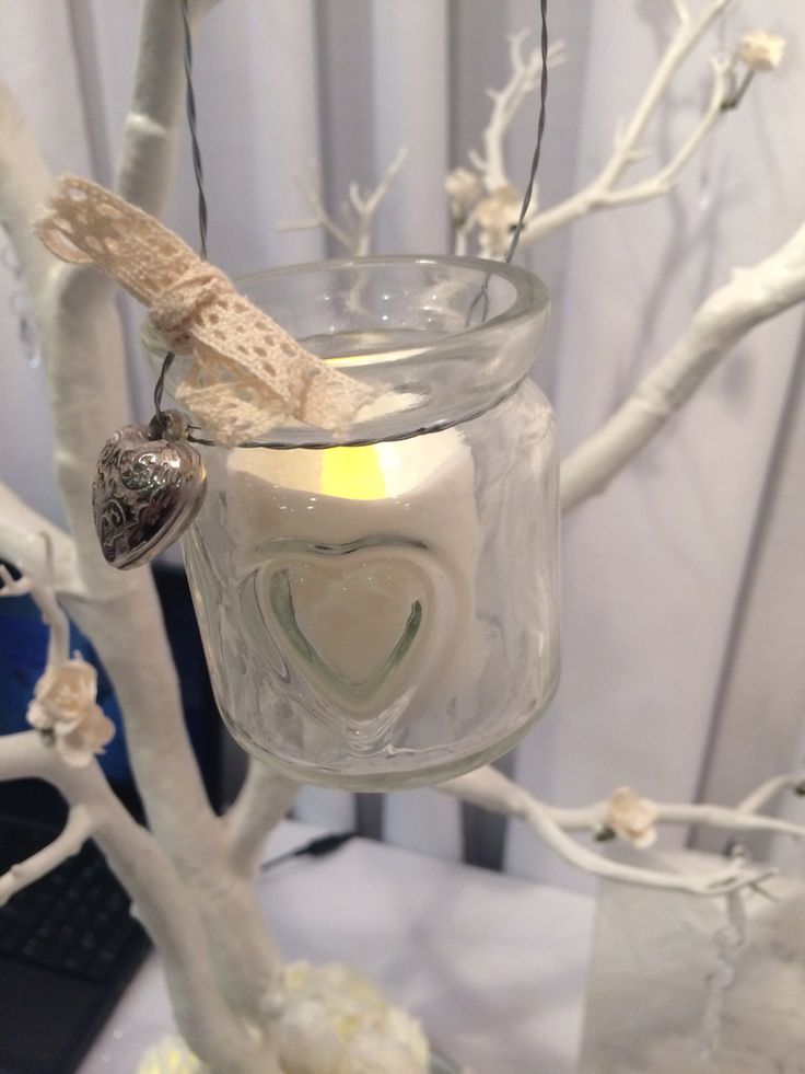 Little tealight holders on our White Wish Tree used as a table centrepiece by Made Marvellous