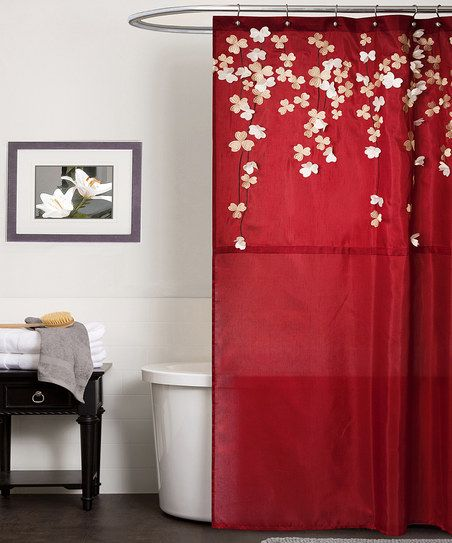 Red Flower Drops Shower Curtain