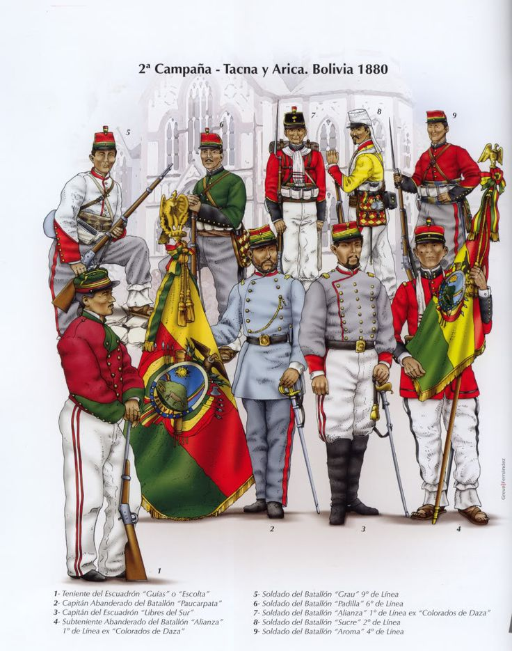 tropa boliviana. guerra del pacifico 1879-1883