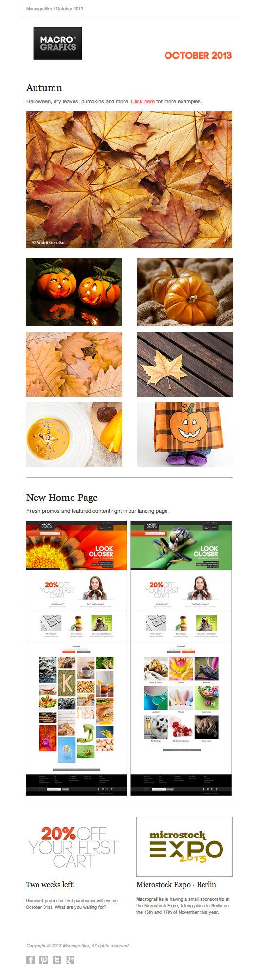Newsletter | October 2013 Autumn-Halloween images; New Home page.