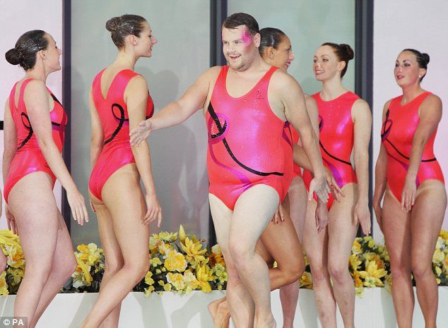 Suits you! James Corden donned a bright pink swimming costume as part of a sketch for quiz show A League of Their Own