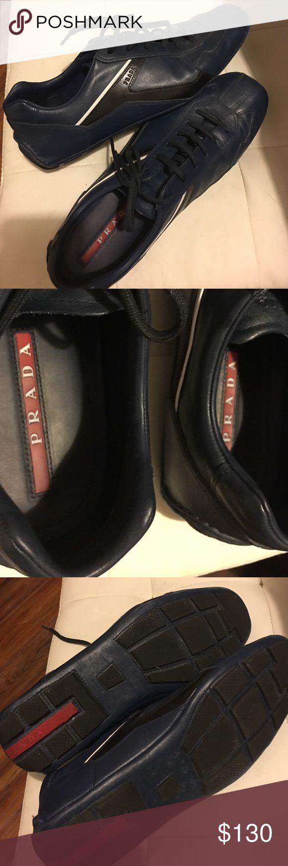 Men's Navy Prada Sneakers Prada/leather/Sport/ like new/perfect condition Prada Shoes