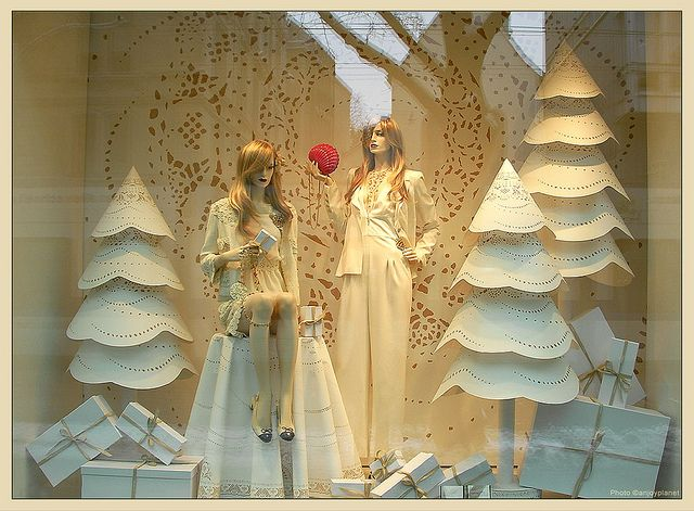 Giant paper doily Christmas trees! Window CHANEL Zurich -2 by anjoyplanet, via Flickr