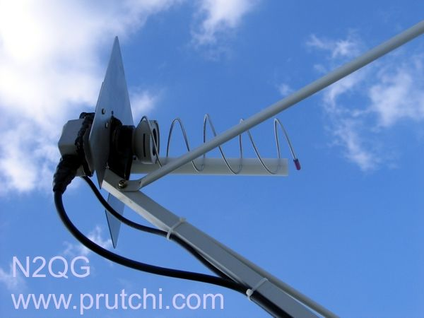 Combined L-Band (23 cm) Helical Feed and Ku 0.4 dB LNBF for 120 cm Dish - (David Prutchi)