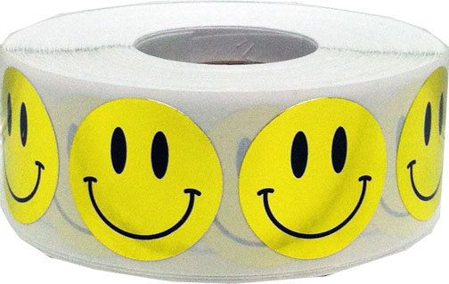 1000 Shiny Metallic Gold Smiley Happy Face by TheDotSpotLane. Perfect for crafting or teacher rewards.