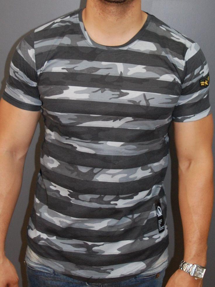 N&R Men Camo Stripes Camouflage Fil T-shirt - Gray