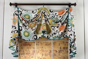 This valance style for the breakfast bay window, but in black & white ticking stripe