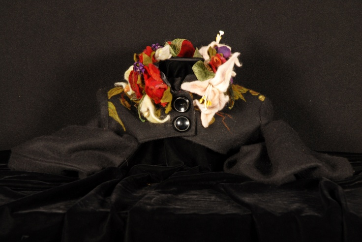Jacket, with floral felted collar.    Designed and made by Kirry Toose  Photo- Kirry Toose