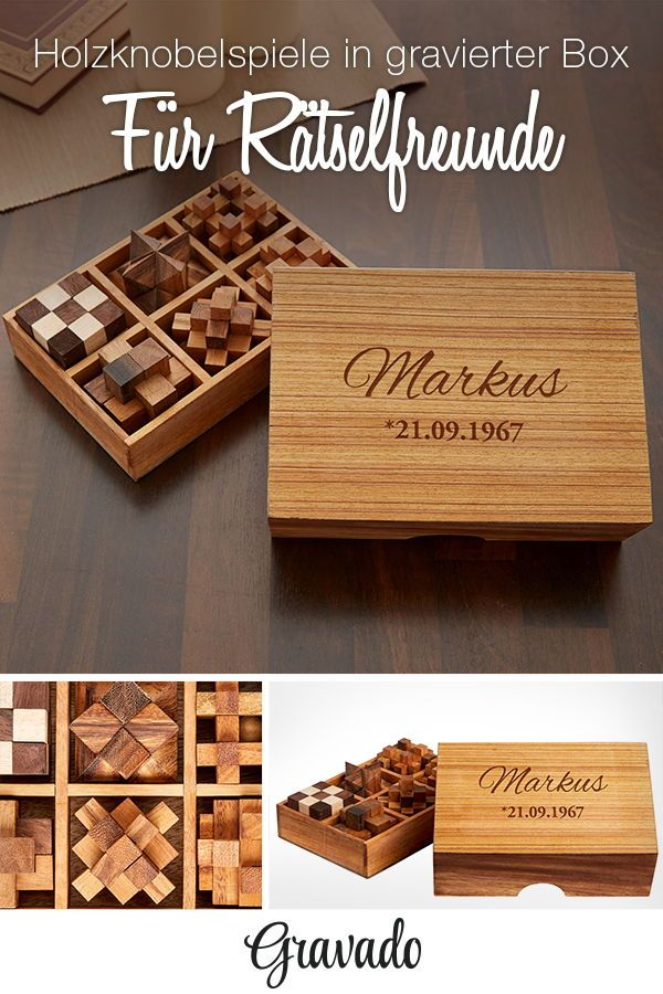 IQ Master Knobelspiele Set aus Holz in edler Box - personalisiert ...