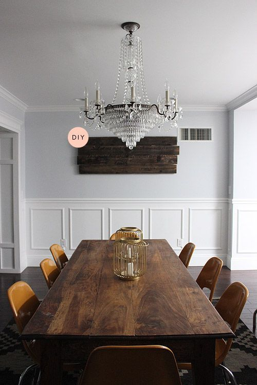 Love the color palette and the wainscoting to give definition to the room, plus the warmer wood notes.