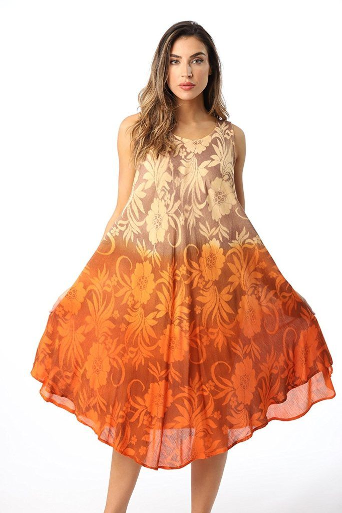e42d4d3419 Riviera Sun Hombre Tie Dye Summer Dress With Floral Painted Design Swim  Cover Up Dress,