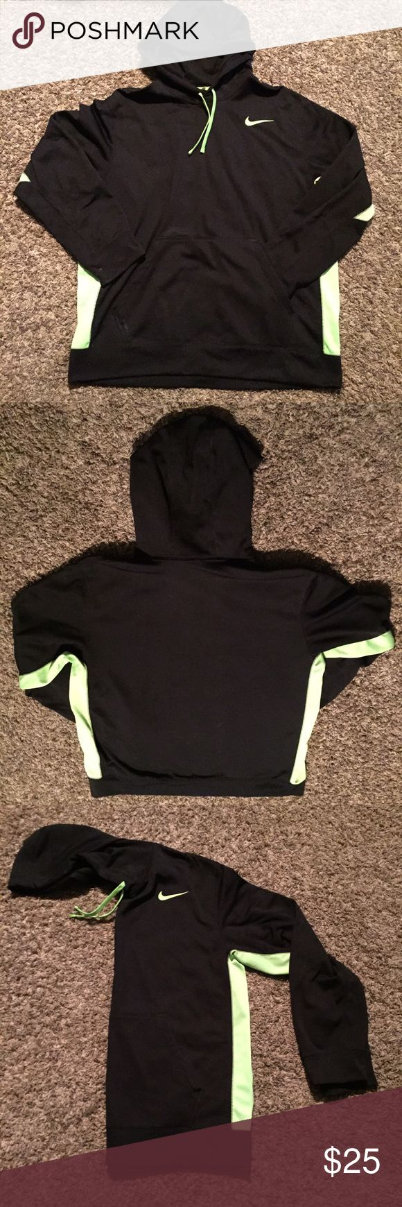 Nike Fleece Hoodie Nike therma-fit hoodie. Black with contrasting neon green, men's extra large. Great condition, no tears or snags Nike Jackets & Coats Performance Jackets