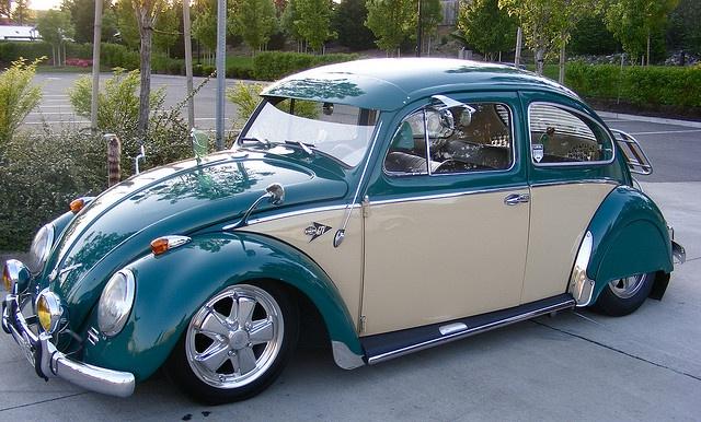 VW Beetle. ew so chromey but good cream door example