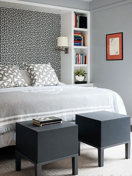 Headboard or no headboard, a bed framed with cupboards and shelves can be a feature in the bedroom. Wallpaper, paint techniques, and even mosaic tiles, add unique touches.