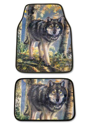 "4 Piece Wolf Car Mats Set By Collections Etc by How Helpful. $11.97. Each mat features a beautifully detailed, watchful wolf. Get a little extra help protecting car floors and carpets. Includes 2 front and 2 rear mats. Hand washable polyester. Front measures 25 3/4""W x 17 1/2""L; back 13""W x 17 1/4""L. 4pc Wolf Car Mats: Set of 4 polyester mats protects floor and carpets from stains and wear. Rubber backing keeps them in place. Set includes 2 front and 2 back mats. Hand wash. Impor..."
