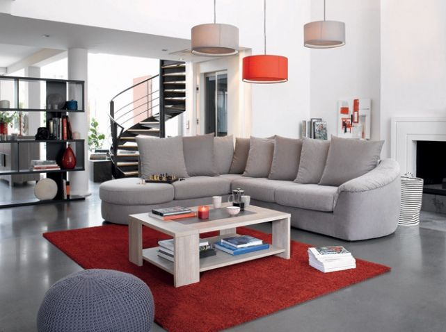 tapis suspension rouge conforama home sweet home pinterest salons living rooms and architecture interiors - Deco Salon Gris Et Rouge