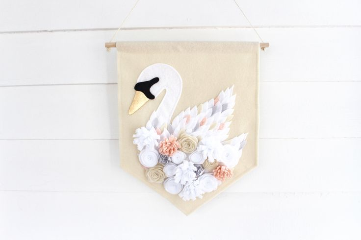 Swan Large Wall Hanging . Wall Banner . Wall Flag . Flower Nursery Wall Art . Swan Nursery Decor . Flower Nursery Decor (Made to Order) by SillyOllie on Etsy https://www.etsy.com/listing/494913248/swan-large-wall-hanging-wall-banner-wall