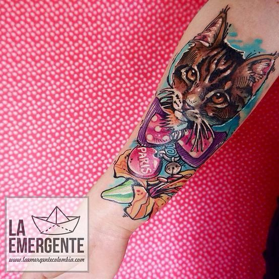 laemergente |  Tattoos | cat tattoo