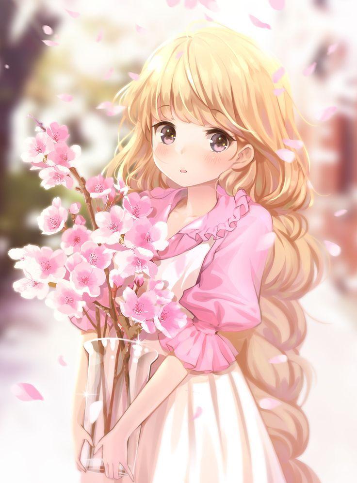 Manga Mädchen mit blonden Haaren und Kirschblüte…