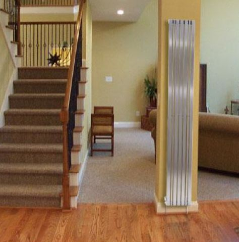 Great use of space, Stainless Steel Column Radiators. Standing tall, looking good :)  Www.TosoRadiators.co.uk