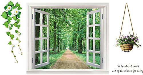 Sanbay 3d Tree Wall Stickers Flower Windows Avenue Removable Mural Wall Decal for Television Background Home Decor -- Check this awesome product by going to the link at the image.